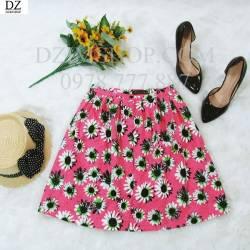 Chân váy thô hoa cài cúc trước