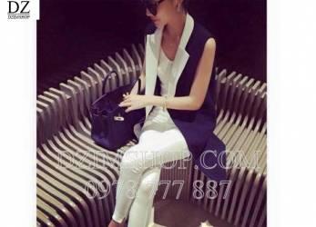 Vest không tay phối cổ