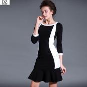 Váy đuôi cá phối màu đen trắng