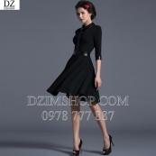 Váy đen phối da sang trọng