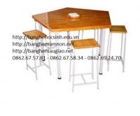 Bàn lab học sinh khung sắt,gỗ công nghiệp 08