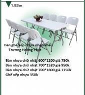 Bàn ghế nhựa xếp nhập khẩu 700*1800*740mm