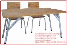 Bàn ghế cho trẻ mầm non gỗ ghép chân sắt