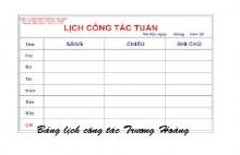 Bảng lịch công tác tuần kích thước 1200 x 1800 mm