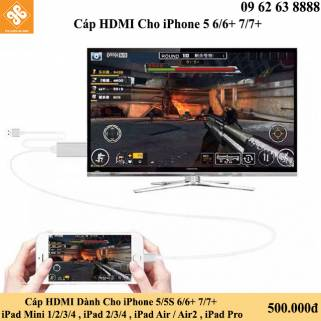 Cáp HDMI Dành Cho iPhone 5/5S 6/6+ 7/7+  iPad Mini 1/2/3/4 , iPad 2/3/4 , iPad Air / Air2 , iPad Pro