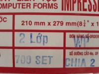 Giấy in liên tục 2 liên IMP khổ 210/2 (A5)