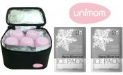 Túi giữ lạnh sữa Unimom (Hàn Quốc) gồm 5 bình PP và 2 miếng đá khô diệt khuẩn