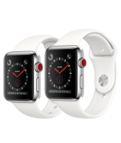 Apple Watch 42mm Stainless Steel Case with Soft White Sport Band
