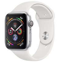 Apple Watch Series 4 44mm Silver Aluminum Case with White Sport