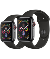 Apple Watch Series 4 40mm Space Black Stainless Steel Case with Black Sport Band (GPS+Cellular)