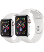 Apple Watch Series 4 40mm Stainless Steel Case with White Sport Band (GPS+Cellular)