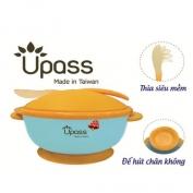 Bát ăn dặm UPASS không BPA có nắp và thìa (Xanh) - UP5025YX