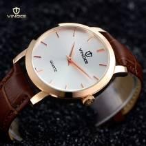 Đồng hồ nam dây da mặt tròn Vinoce V3268-01