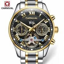 Đồng hồ đeo tay nam cao cấp CARNIVAL 8728G-03 lộ máy cơ tinh tế