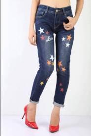 Quần Jeans Dài Nữ JBRAND In Hình( Đậm Vừa)