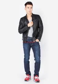 Quần jeans nam Duy Phát màu xanh navy xước sáng