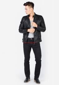 Quần jeans nam Duy Phát màu đen ống côn