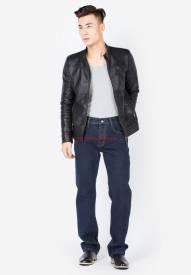 Quần jeans nam Duy Phát màu xanh đen ống đứng