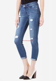 Quần jeans lửng Duy Phát J.Brand BF-36 rách màu xanh trung