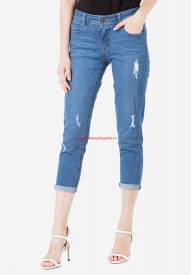 Quần jeans lửng Duy Phát Moto BL-A3 rách màu xanh trung