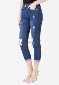 Quần jeans lửng Duy Phát J.Brand BL-A10 rách màu xanh đậm