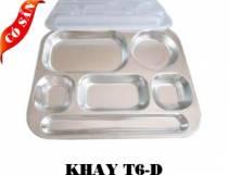 Khay inox 6 ngăn D/Khay cơm phần 6 ngăn