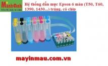 Hệ thống dẫn mực ngoài Epson 6 màu (T50, T60, 1390, 1430...) trắng, có chip