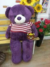 Gấu Teddy xù tím áo len đỏ
