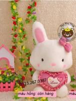 Thỏ ôm tim hồng (40cm)