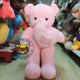 Gấu bông ôm tim HUG ME hồng (1m2)