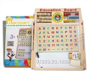 Bảng gỗ 2 mặt kèm bộ chữ số gắn nam châm