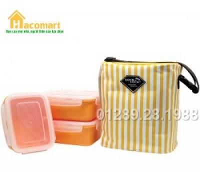 Bộ 3 hộp đựng cơm Lock&Lock hình chữ nhật kèm túi giữ nhiệt