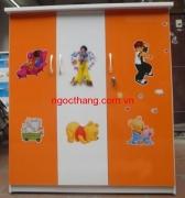 Tủ nhựa Đài Loan cánh trơn màu cam trắng