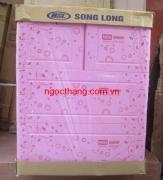 Tủ nhựa Song Long panda 3 tầng màu hồng