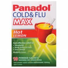 Bột chanh trị cảm Panadol Cold and Flu Max Hot Lemon 10 liều
