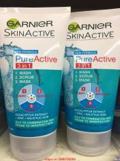 Sữa rửa mặt Garnier 3 trong 1 Pure active: rửa mặt, tẩy da chết và mặt nạ.