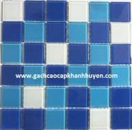 Mosaic Bể Bơi Xanh Trộn Viên To