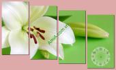 Tranh đồng hồ treo tường hình hoa nghệ thuật AmiA TDH121