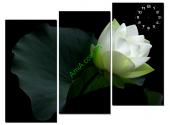 Tranh đồng hồ treo tường hoa sen nghệ thuật AmiA 122
