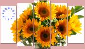 Tranh đồng hồ treo tường nghệ thuật hoa hướng dương AmiA TDH 123