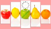 Bộ tranh đồng hồ treo phòng ăn hình hoa quả AmiA TDH148