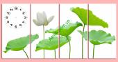 Bộ tranh đồng hồ treo tường Hoa Sen trắng - AmiA TDH170