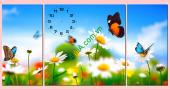 Tranh đồng hồ ghép gỗ: Hoa Bướm mùa xuân - AmiA TDH 184