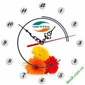 Đồng hồ tranh treo tường đẹp in Logo quà tặng doanh nghiệp - QTDN02