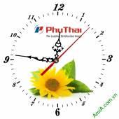 Đồng hồ tranh treo tường đẹp in Logo quà tặng doanh nghiệp - QTDN04