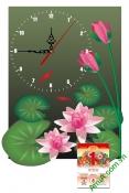Lịch tết đẹp dạng tranh có đồng hồ cho gia đình AmiA TL42