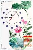 Lịch tết đẹp dạng tranh có đồng hồ cho gia đình - AmiA TL50