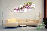 Tranh hoa đào ghép bộ nhiều tấm hiện đại treo phòng khách, AmiA 262