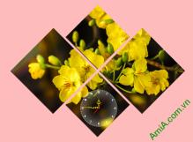 Tranh đồng hồ Hoa Mai vàng ghép bộ nghệ thuật, AmiA 270