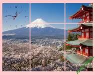 Tranh phong cảnh núi Phú Sĩ Nhật Bản kiểu ghép bộ cực đẹp Amia 276